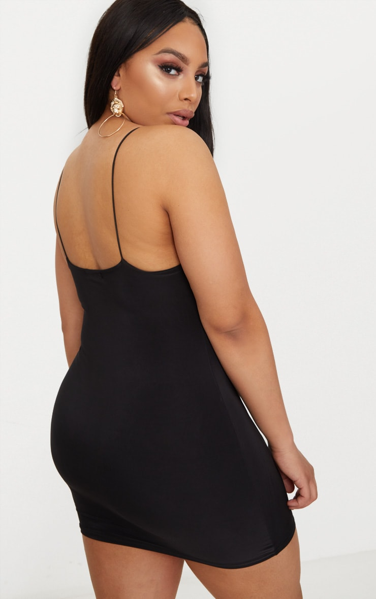 Plus Black Second Skin Slinky Spaghetti Strap Bodycon Dress 2