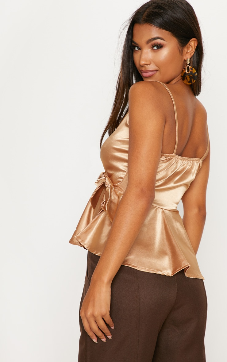 Gold Satin Tie Side Cami  2