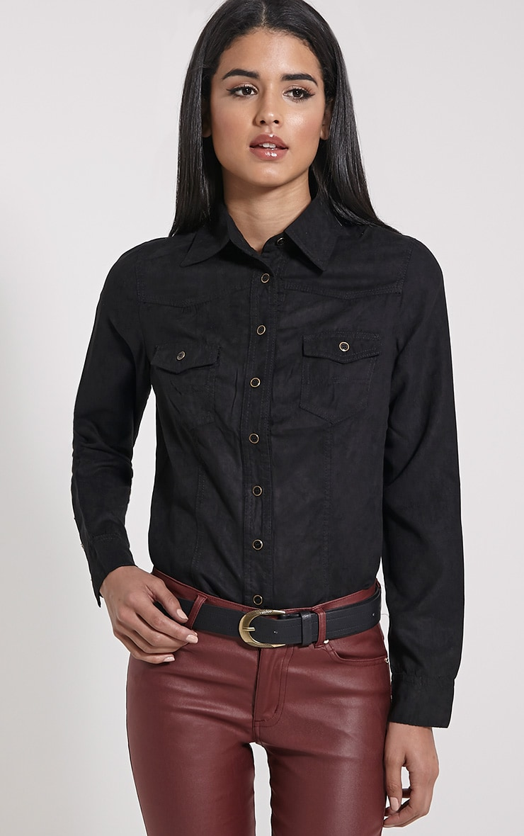 Asha Black Suede Fitted Shirt 1