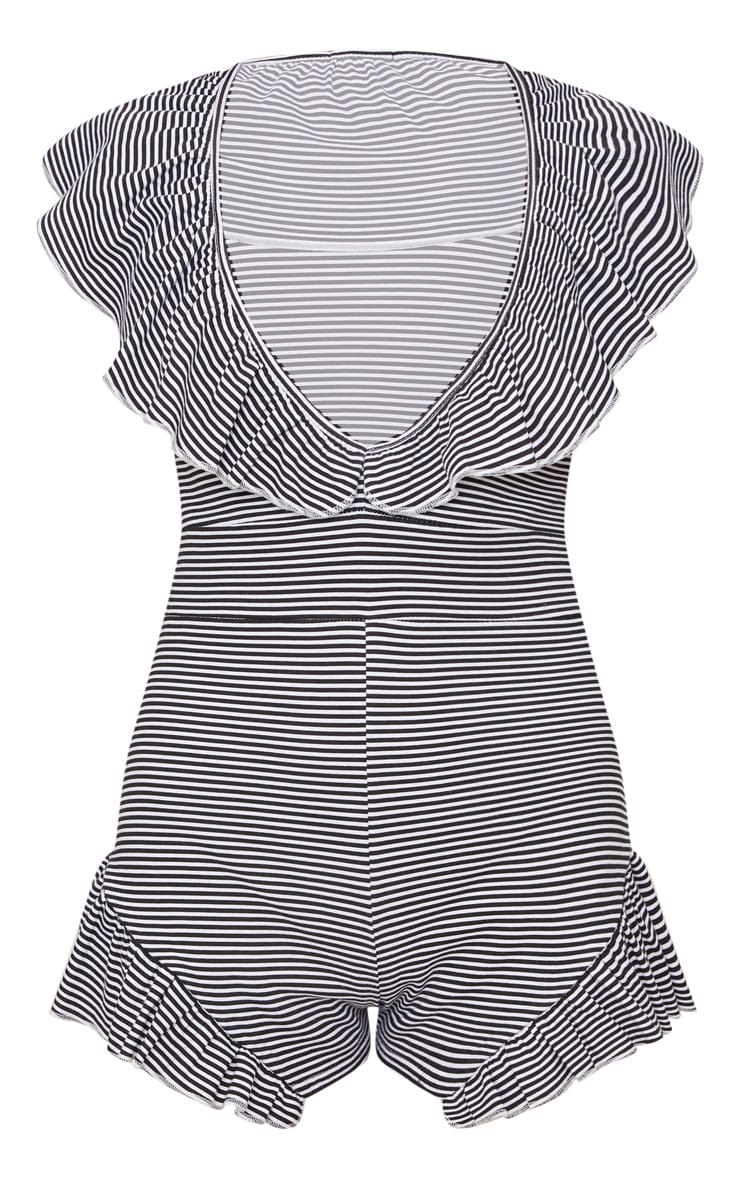 Black Striped Frill Playsuit 3