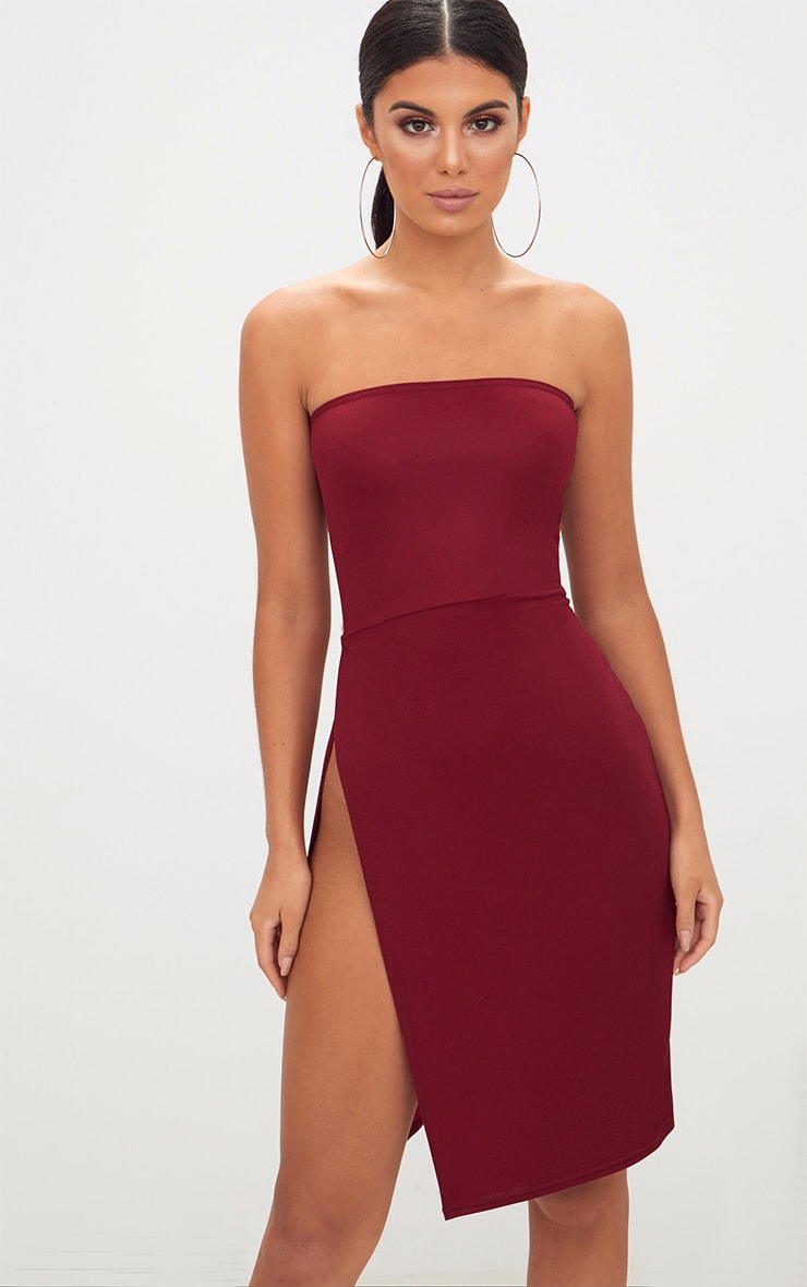 Burgundy Extreme Split Bandeau Midi Dress 1