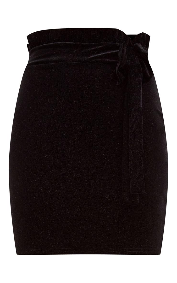 Black Velvet Sparkle Flock Wrap Mini Skirt 3