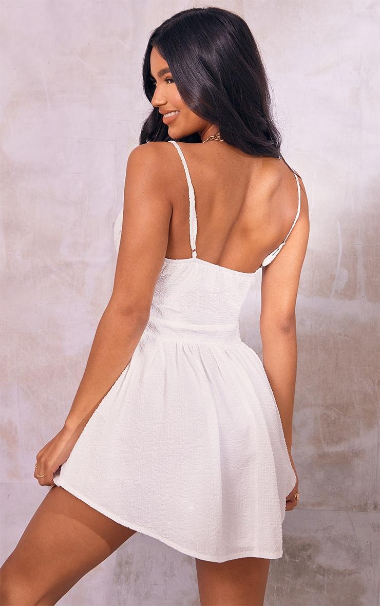 White Textured Strappy V Neck Skater Dress 2