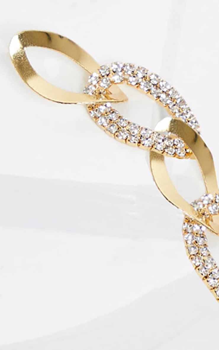 Boucles d'oreilles pendantes dorées maillons strassés 3