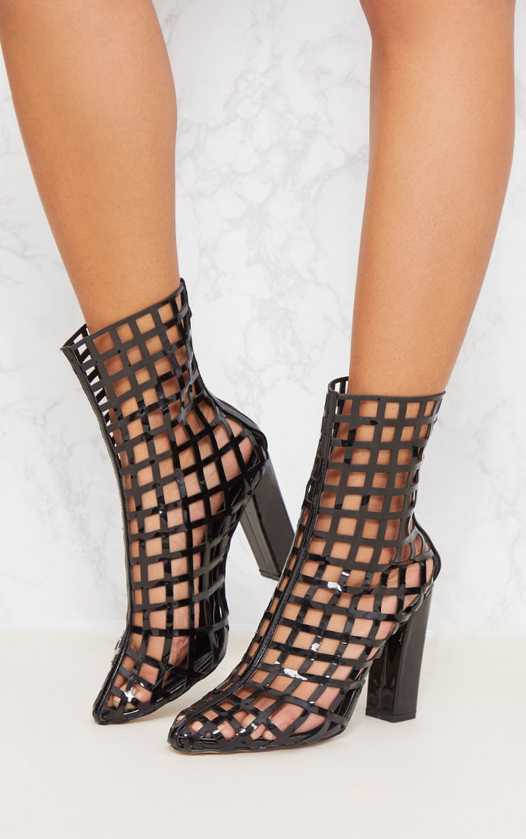 Black Caged Ankle Heeled Boot 2
