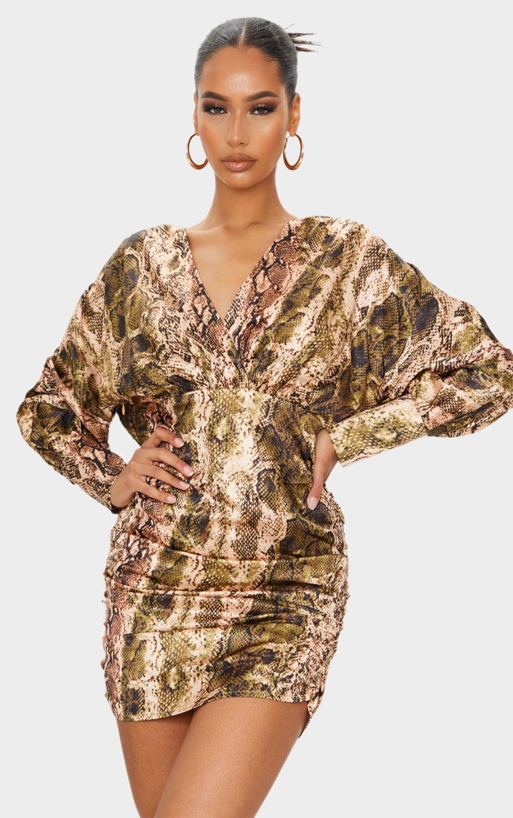 Brown Snake Print Satin Plunge Long Sleeve Ruched Bodycon Dress 1