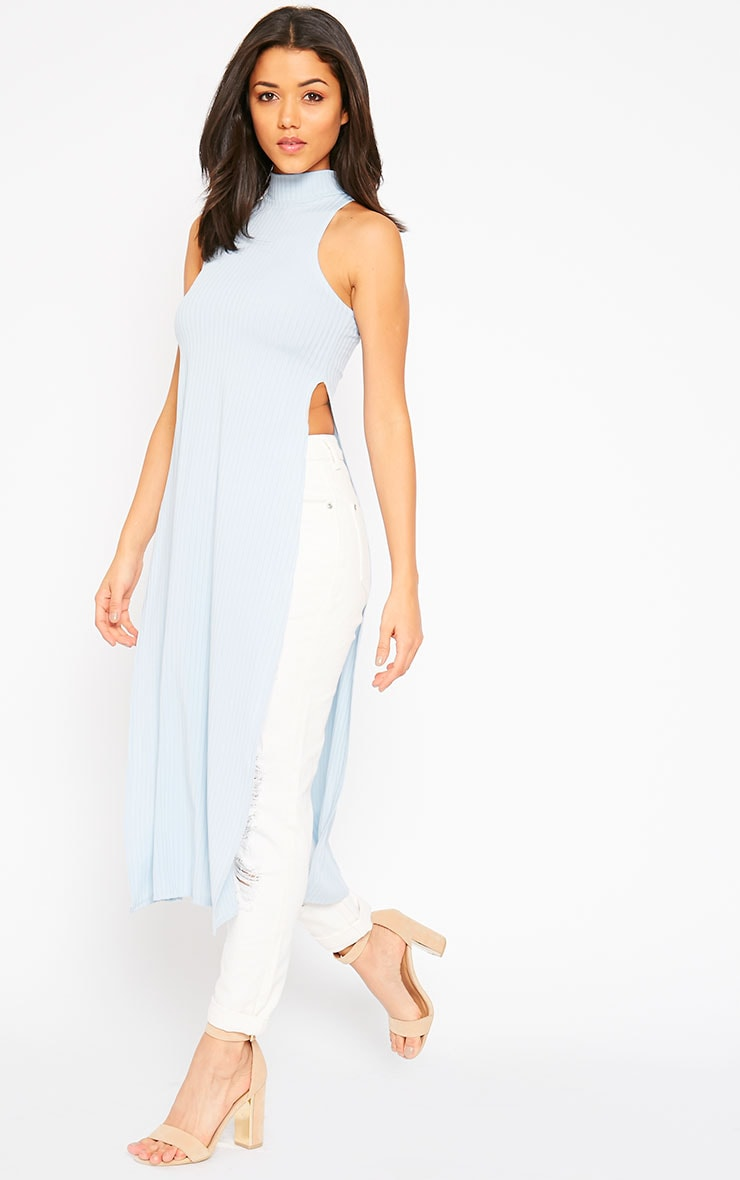 Aaralyn Powder Blue Ribbed Side Split Dress 1