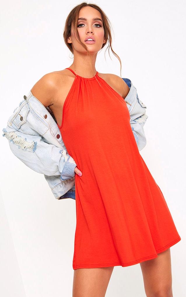 Orange Ruched Halterneck Shift Dress 1