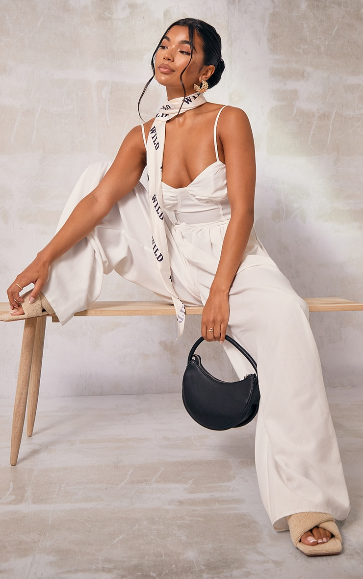 White Ruched Cup Strappy Wide Leg Jumpsuit 4