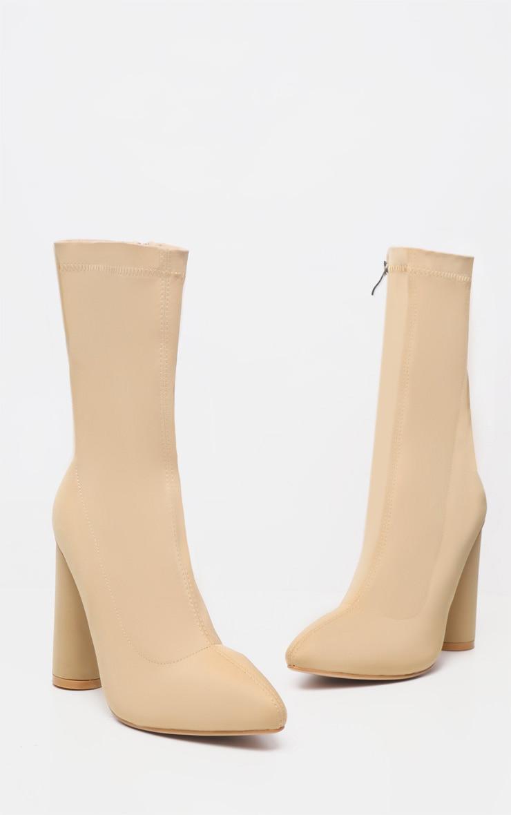 Nude Block Heel Sock Boot 3