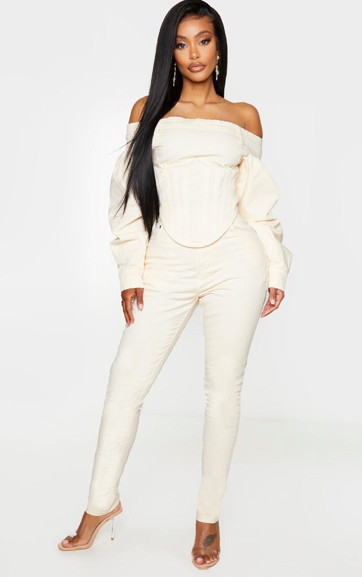Shape Ecru High Waisted Skinny Jeans 1