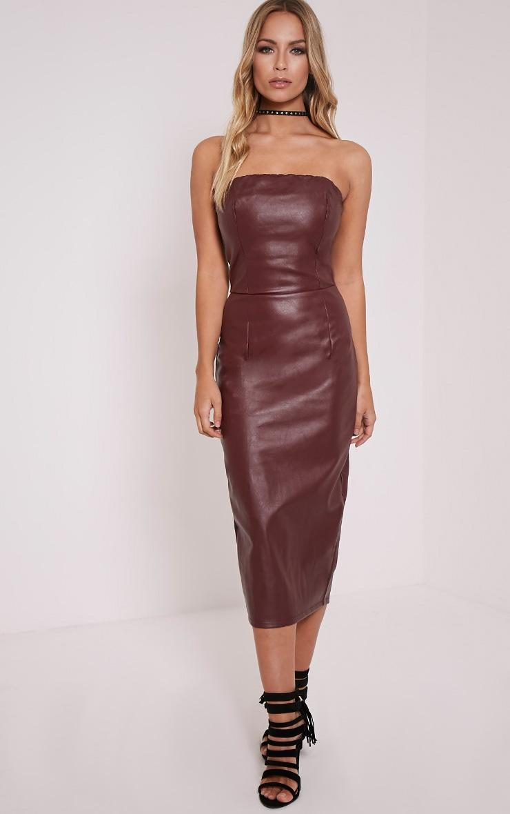Adaline Burgundy Faux Leather Midi Dress 6