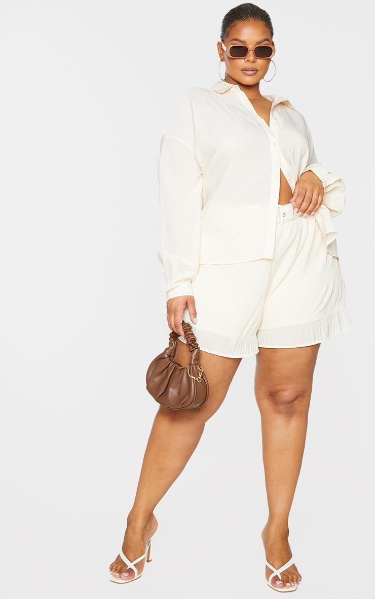 Plus Stone Textured Plisse Floaty Shorts 1
