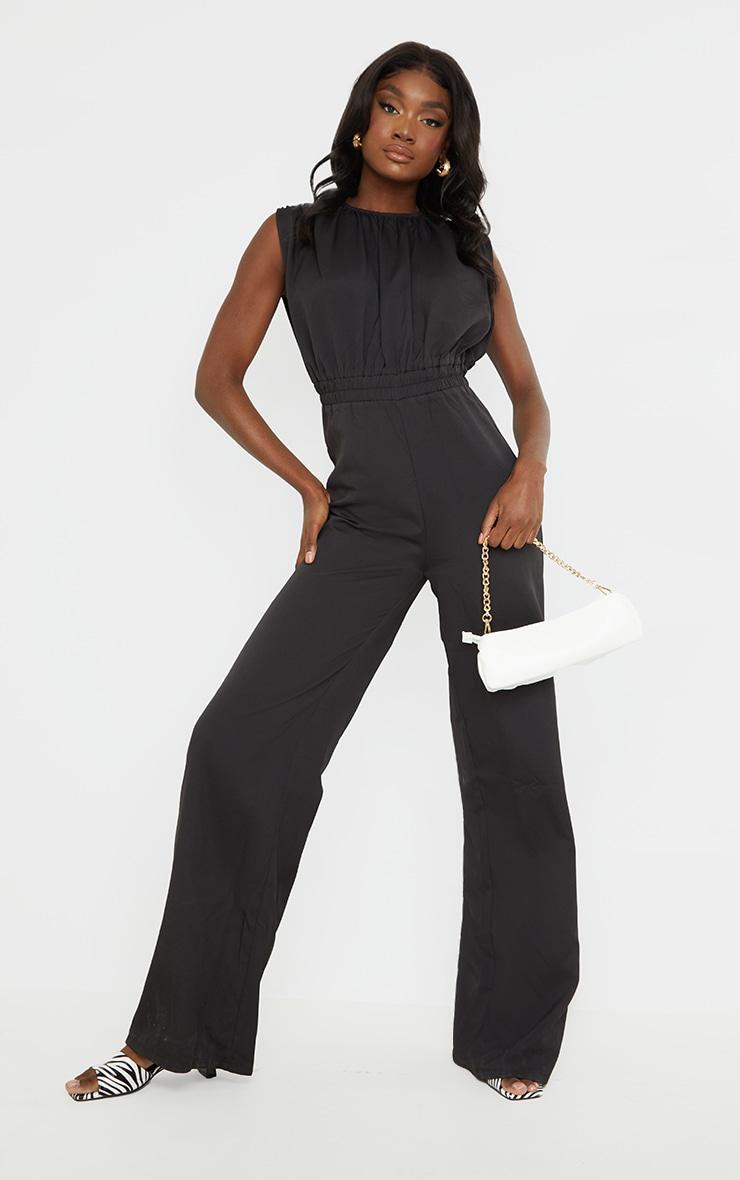 Tall - Combinaison froncée noire évasée à épaulettes et taille cintrée 1