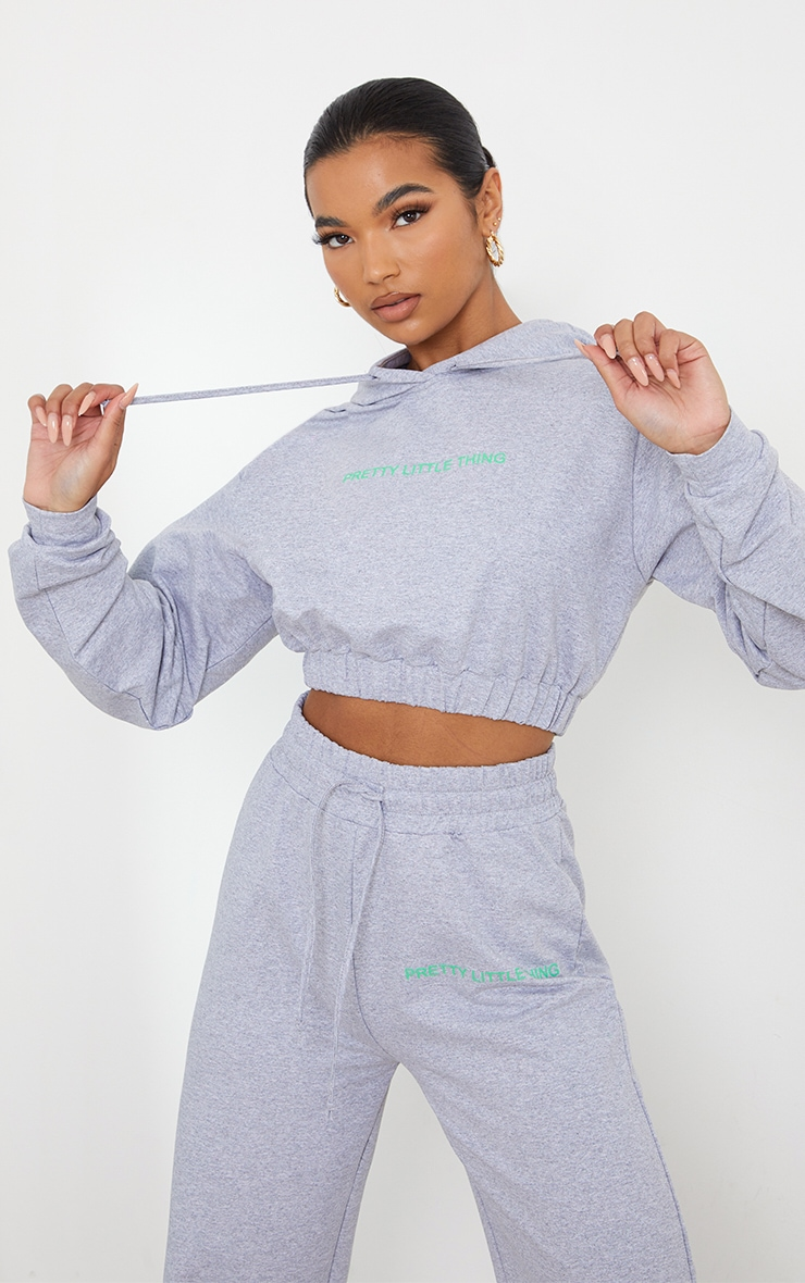 PRETTYLITTLETHING Grey Elasticated Hem Cropped Hoodie 1