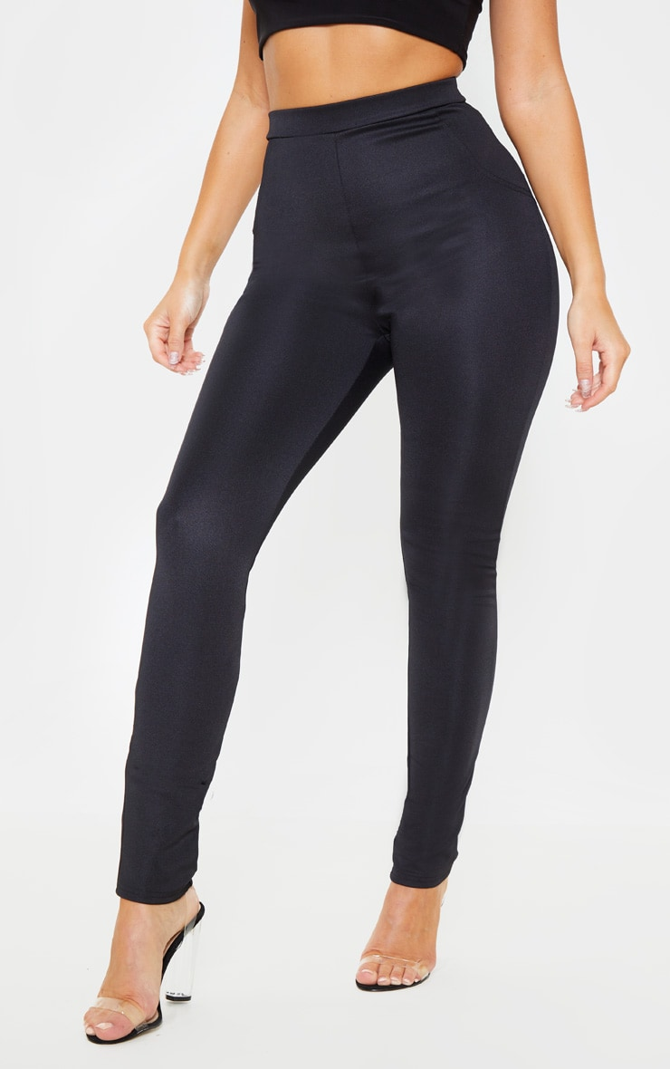 Black Super Stretch Back Pocket Detail Skinny Pants 2