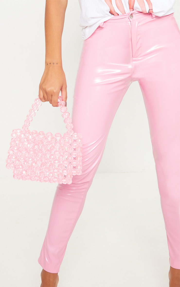 Candy Pink Button Front Vinyl Skinny Trouser 5