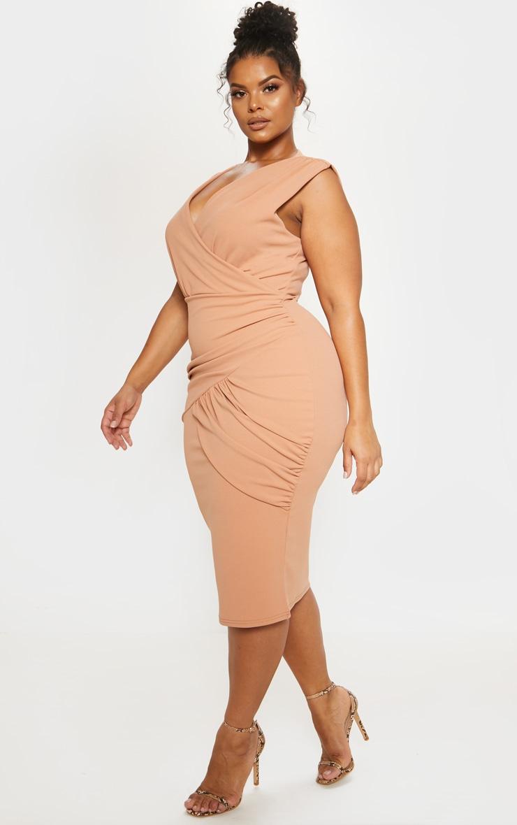 Nude Plunge Wrap Detail Midi Dress 5