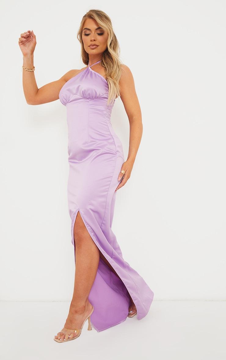 Lilac Halterneck Underbust Seam Satin Maxi Dress 3