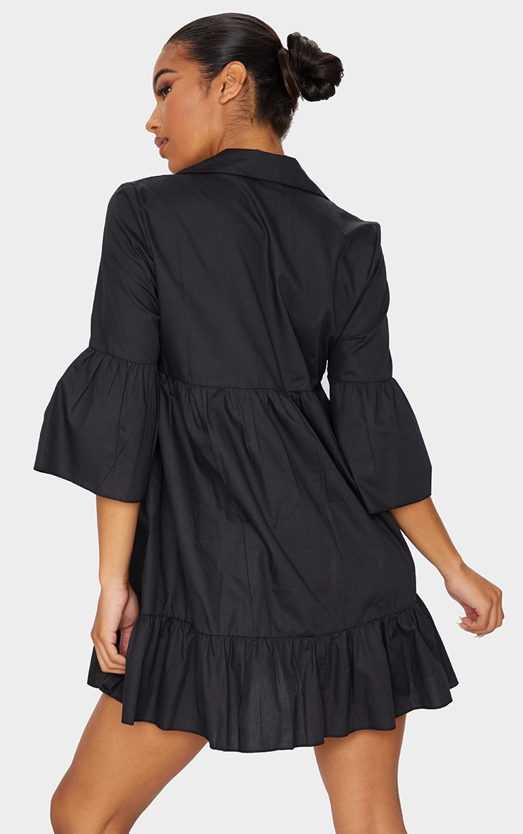 Black Button Front Tiered Smock Dress 2
