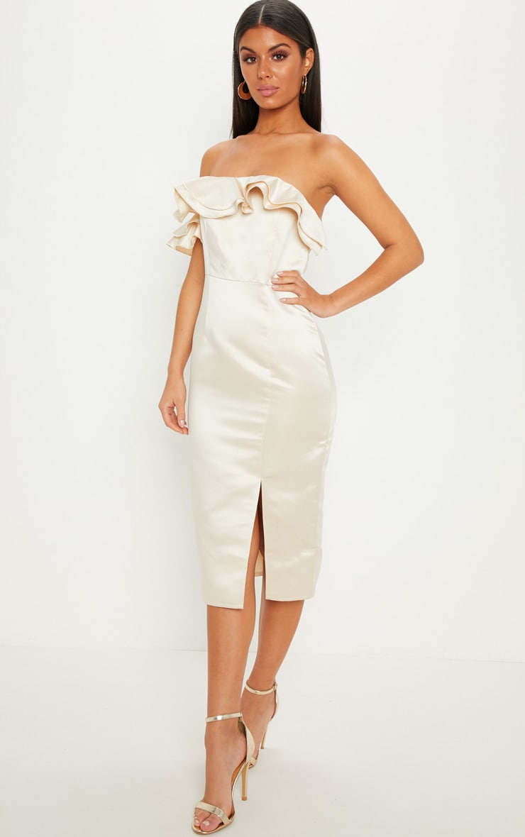 Champagne Bonded Satin Off The Shoulder Ruffle Midi Dress
