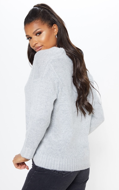 Grey Button Front Slouchy Cardigan
