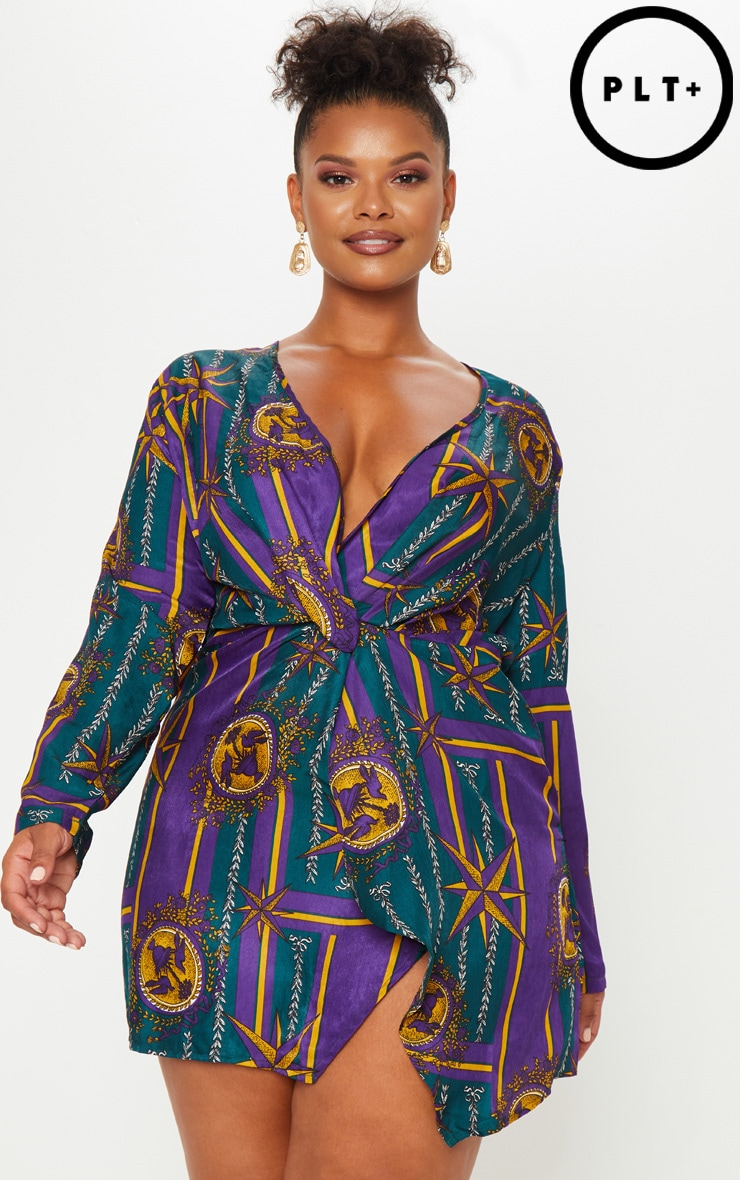 Plus Purple Printed Long Sleeve Wrap Dress 1