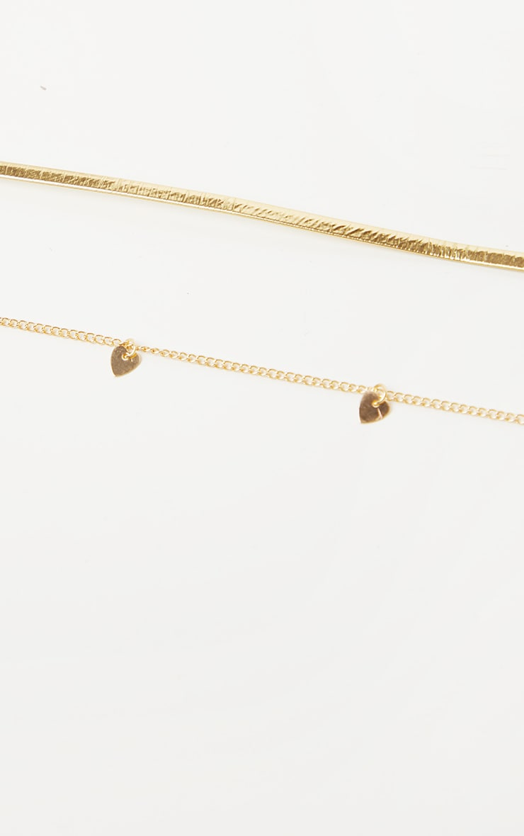 Gold Choker Heart Chain Layering Necklace 2