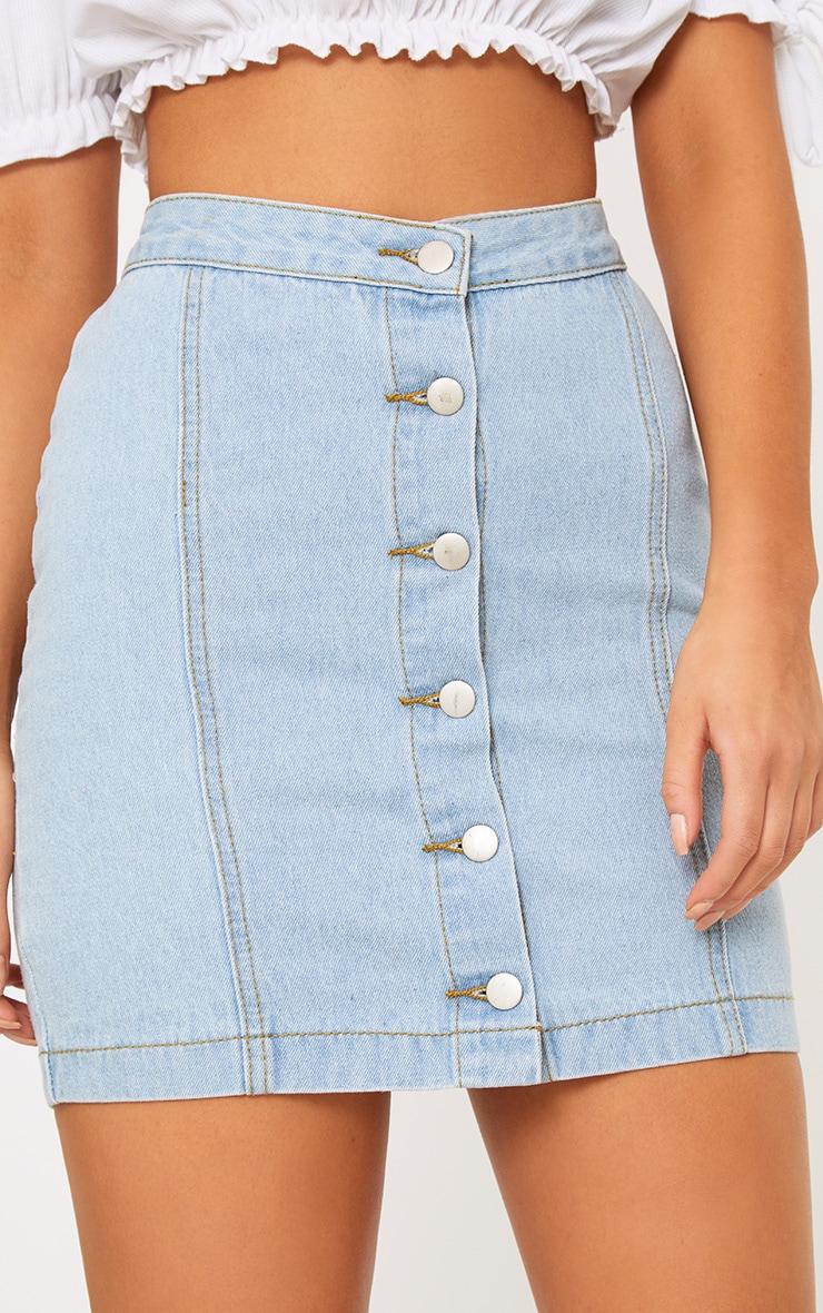 Kaela jupe à boutons en jean délavage léger 6