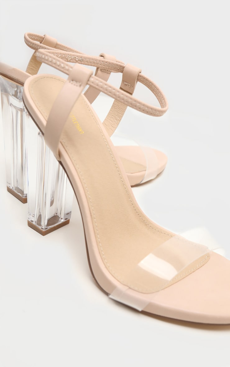 Nude Wide Fit Clear Block Heel Strappy Sandal 3