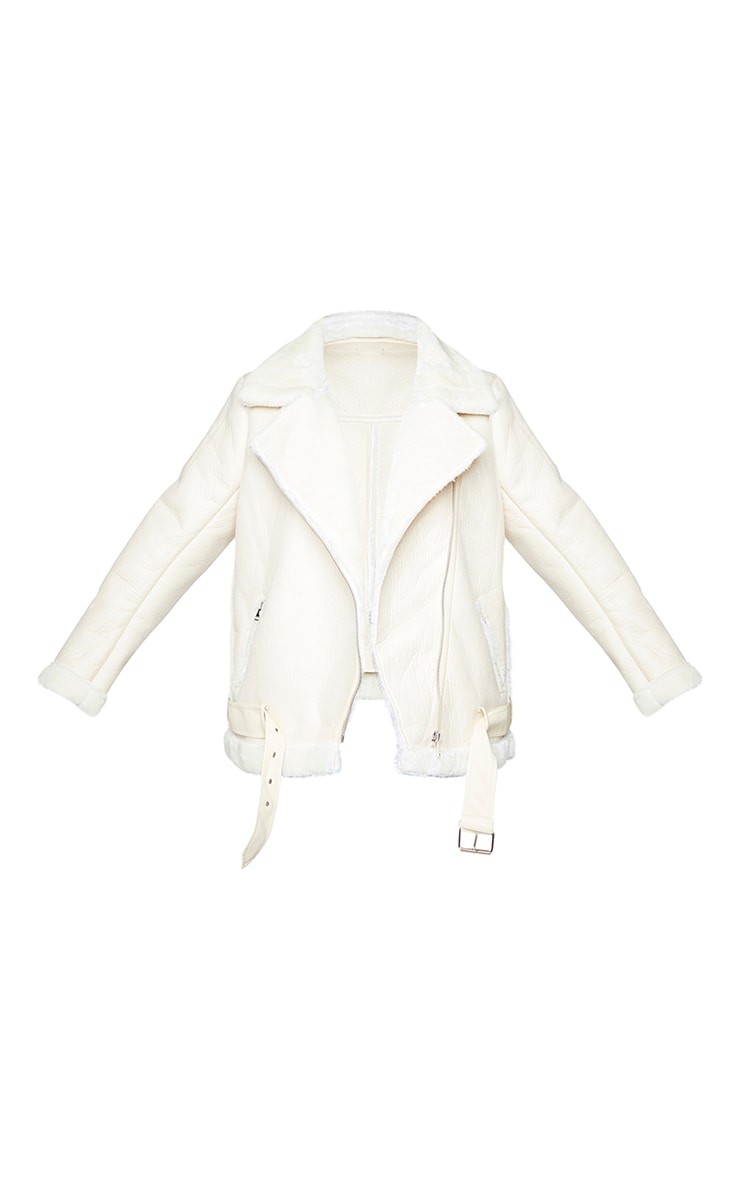 Plus Cream Oversized PU Aviator 5