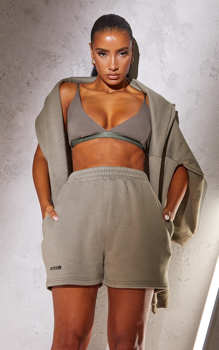 RENEW PRETTYLITTLETHING Khaki Sweat Pocket Shorts 4