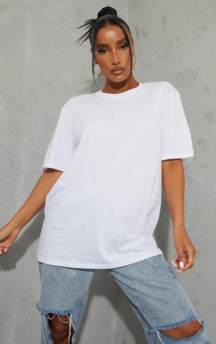 White La Circle Print Washed T Shirt 2
