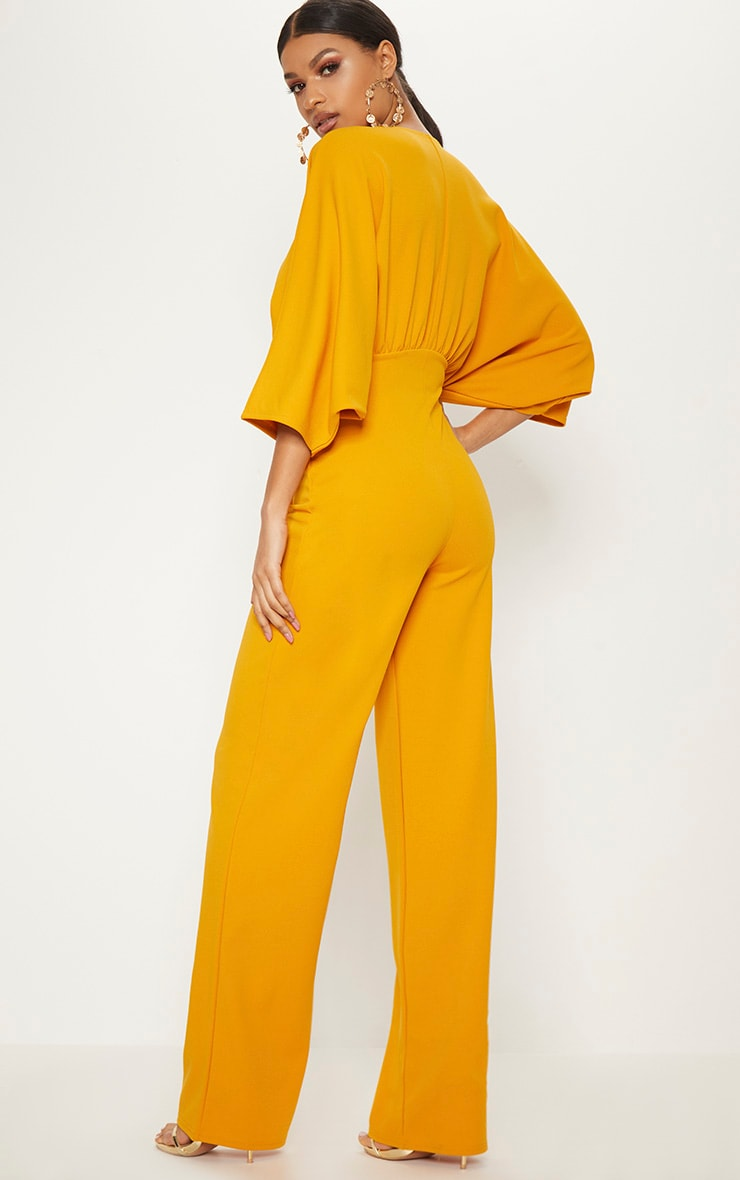 Mustard Crepe Batwing Cut Out Jumpsuit 2