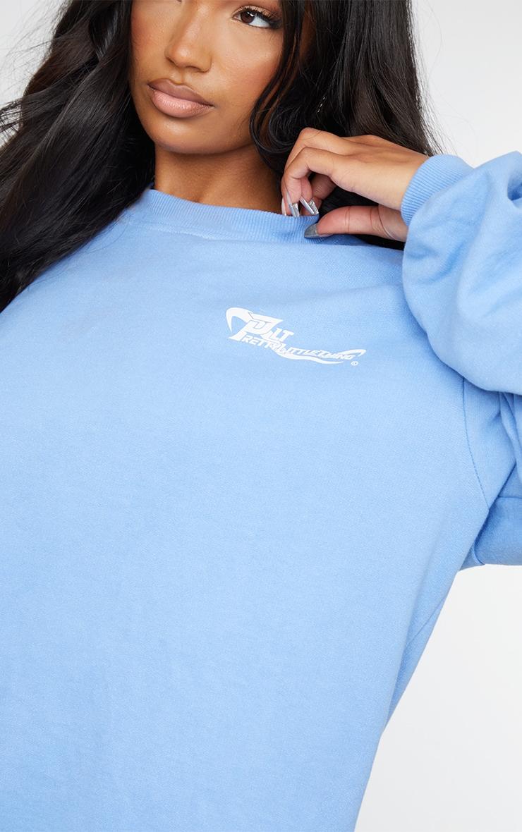 PRETTYLITTLETHING Cornflower Blue Oversized Crew Neck Sweat Jumper Dress 4