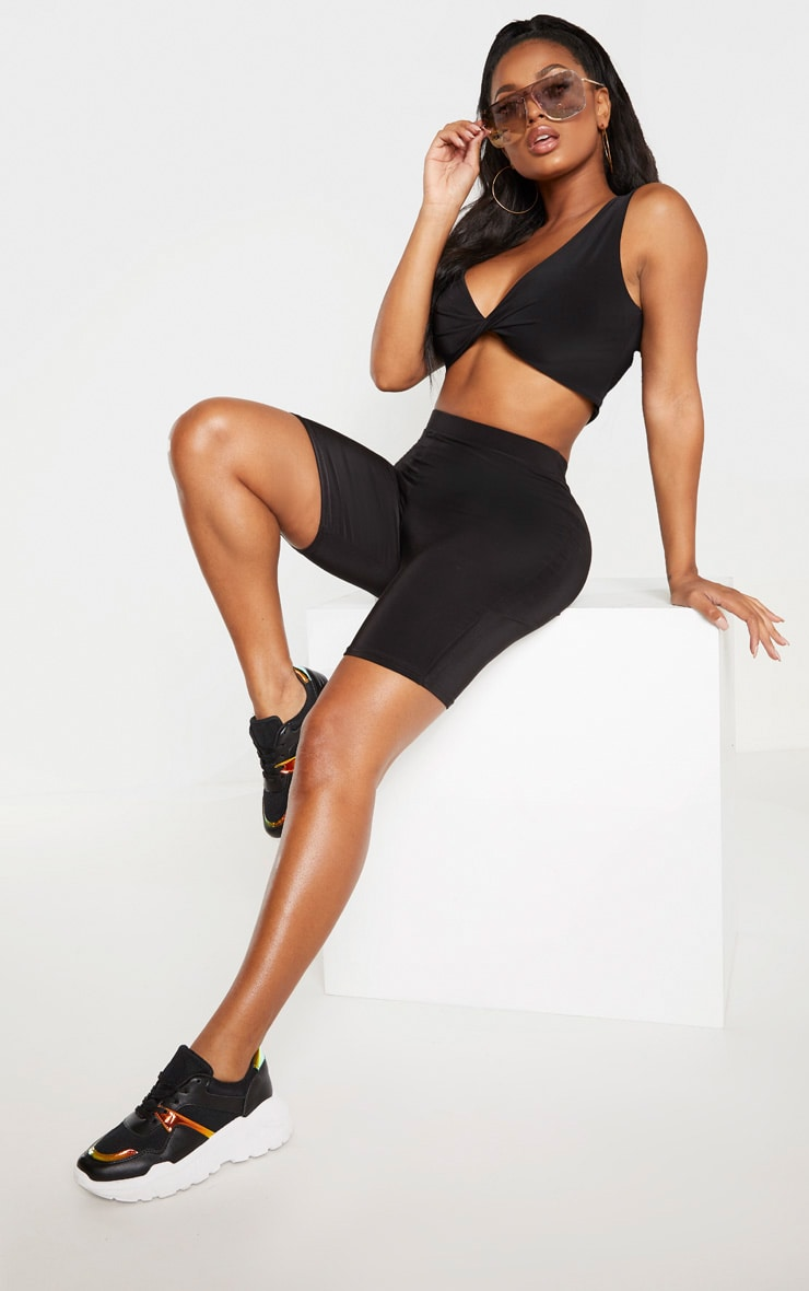 Shape Black Slinky Twist Front Strappy Crop Top  1