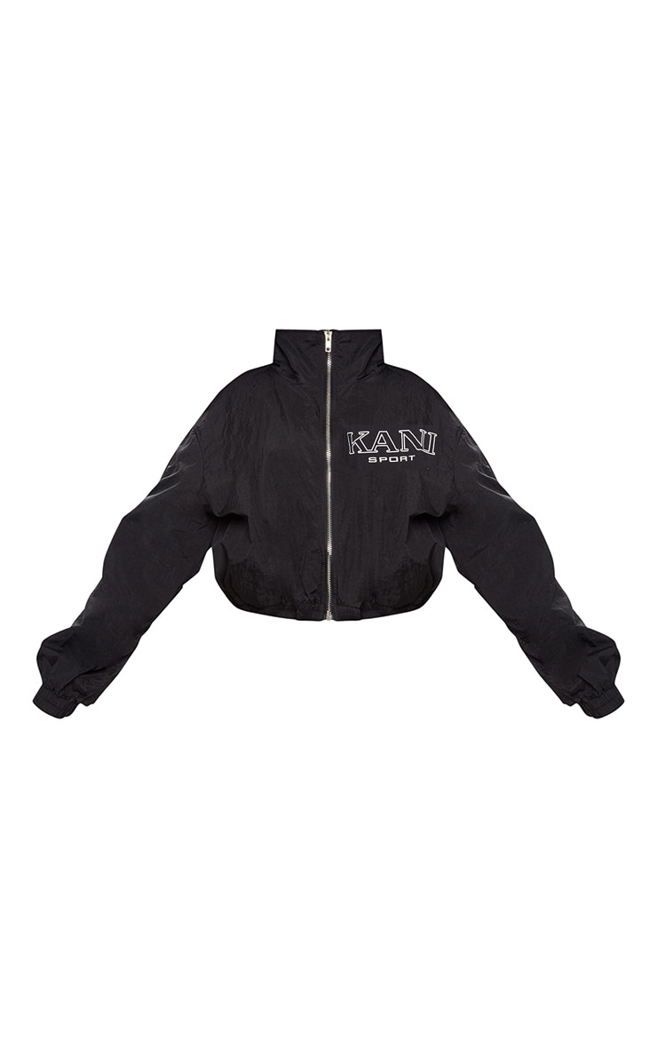 KARL KANI Black Tape Printed Shell Crop Windbreaker 4