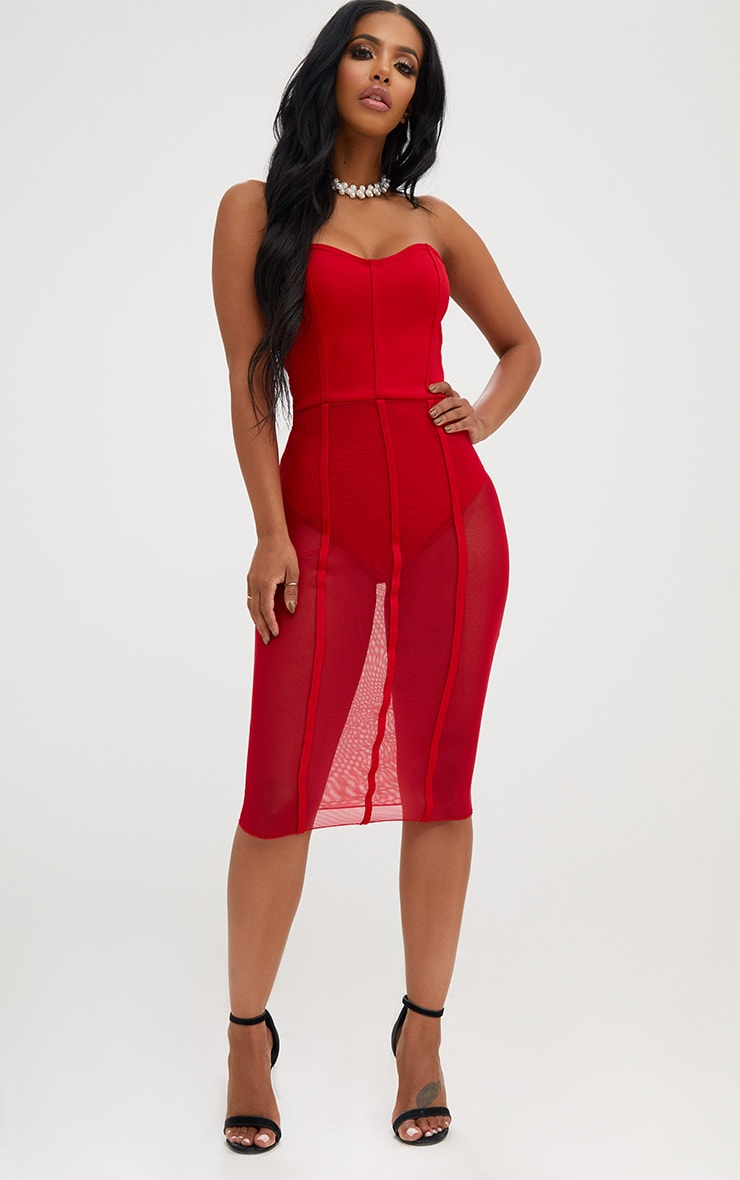 Shape Red Bandeau Mesh Insert Dress 4
