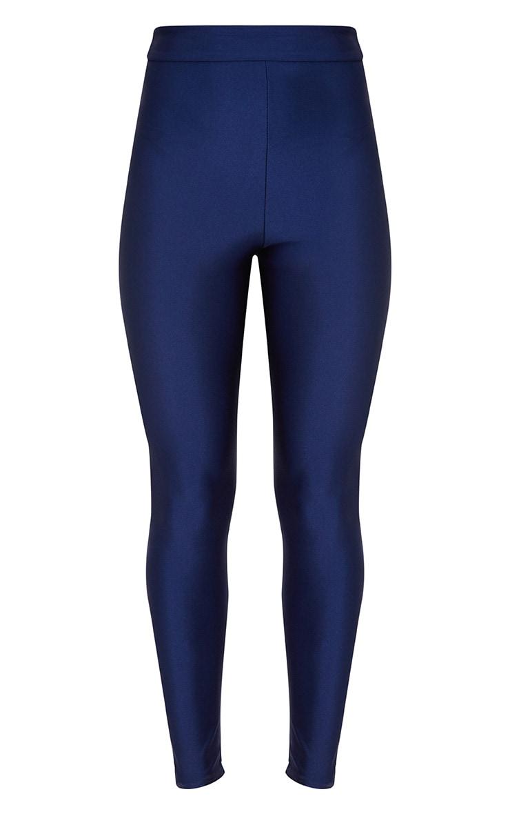 Legging disco taille haute bleu marine 3