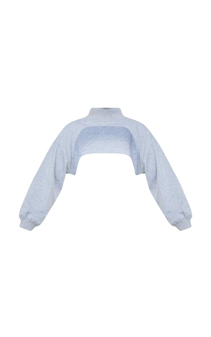 Grey High Rib Neck Arm Warmer Sweat 5