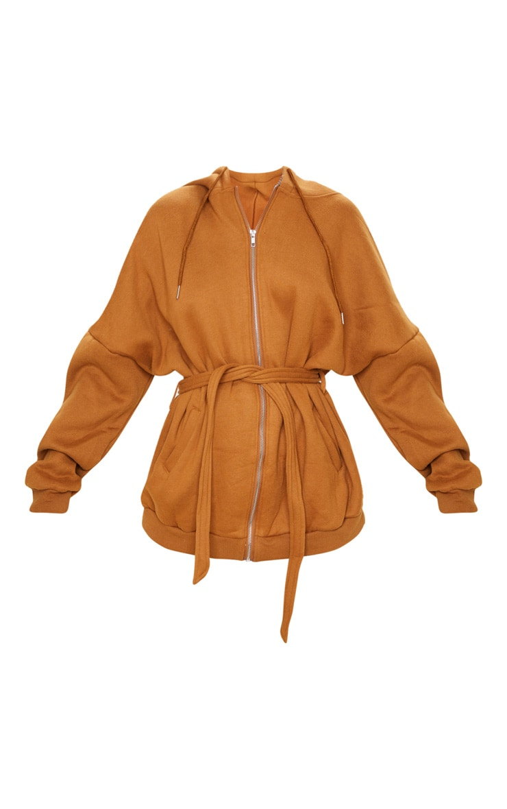 Camel Oversized Belted Sweat Hoodie 4