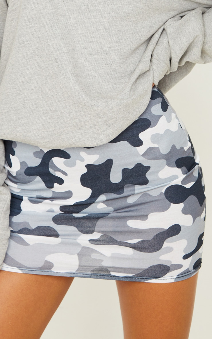 Grey Camo Print Mini Skirt 6