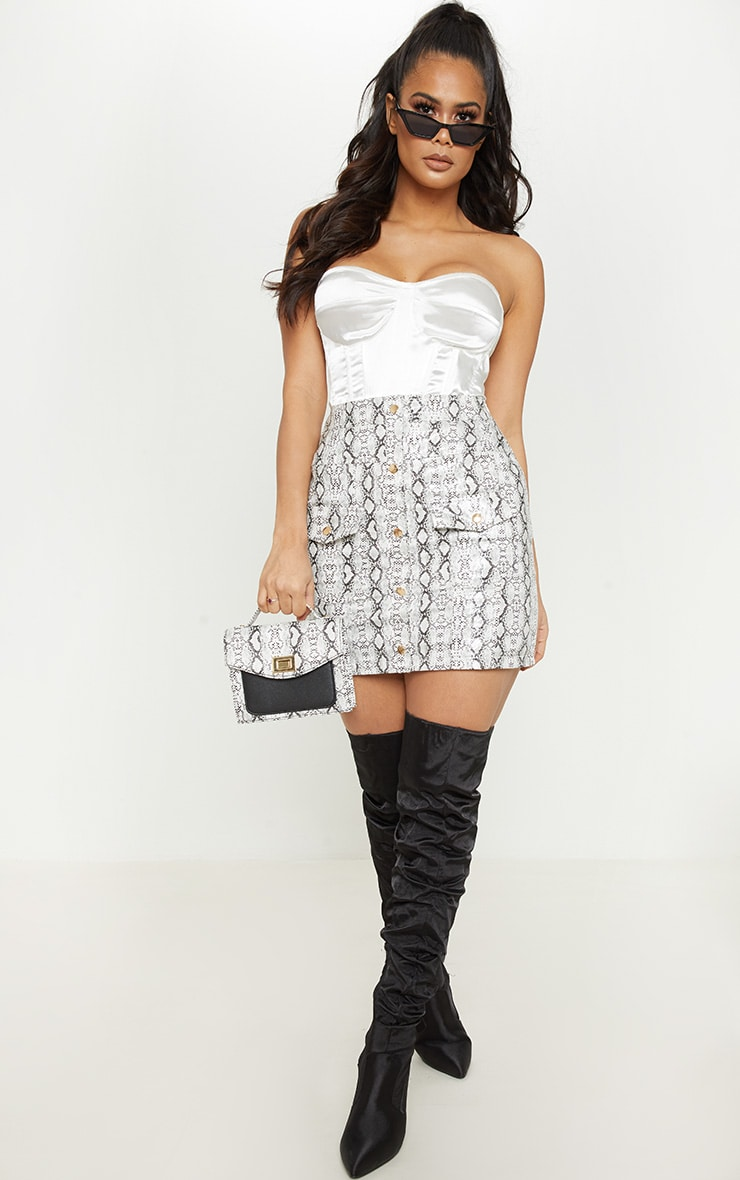 White Snakeskin Popper Front Pocket Mini Skirt 5