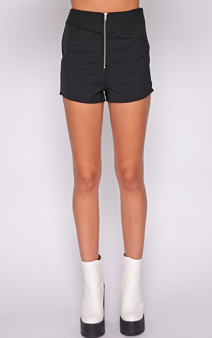 Kiana Black Striped Zip Front Short 2