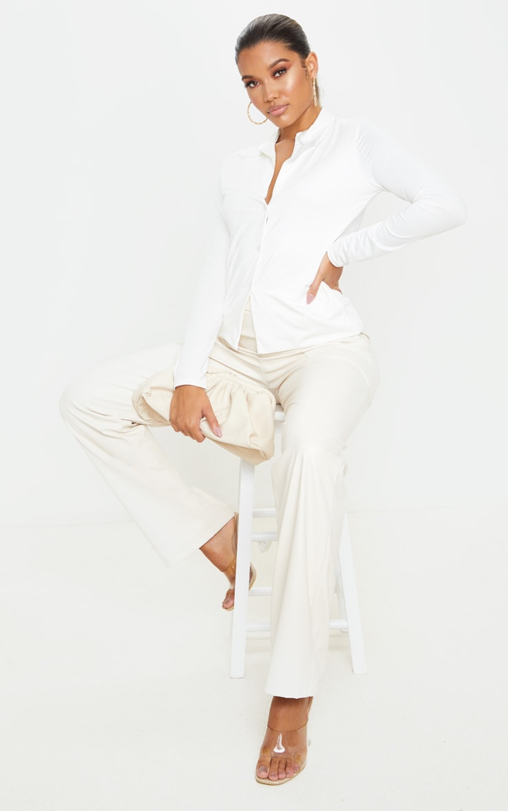 White Slinky Long Sleeve Shirt 3