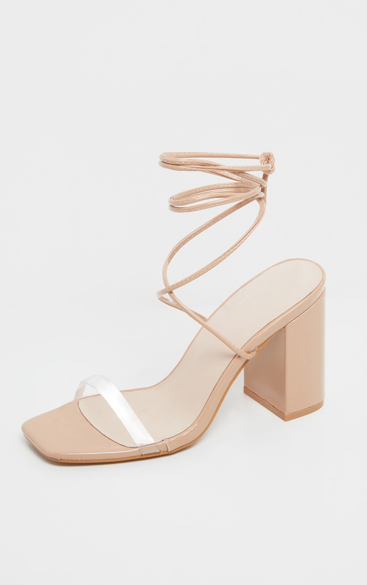 Nude Ankle Lace Up Chunky Block Heel Sandal 3