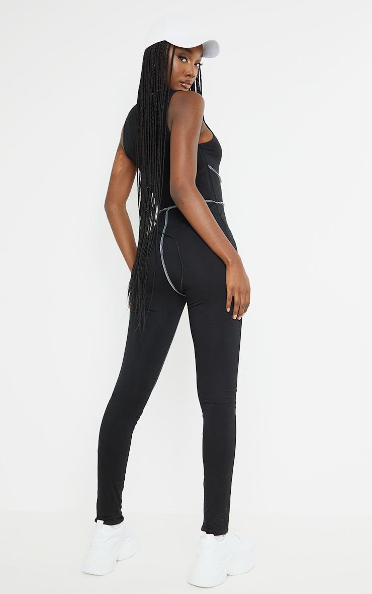 Tall Black Contrast Seam Jumpsuit 2