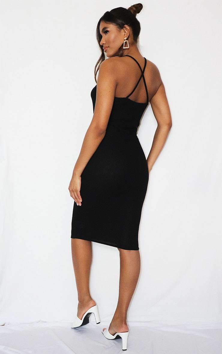 Black Brushed Rib Twist Front Plunge Midi Dress 2