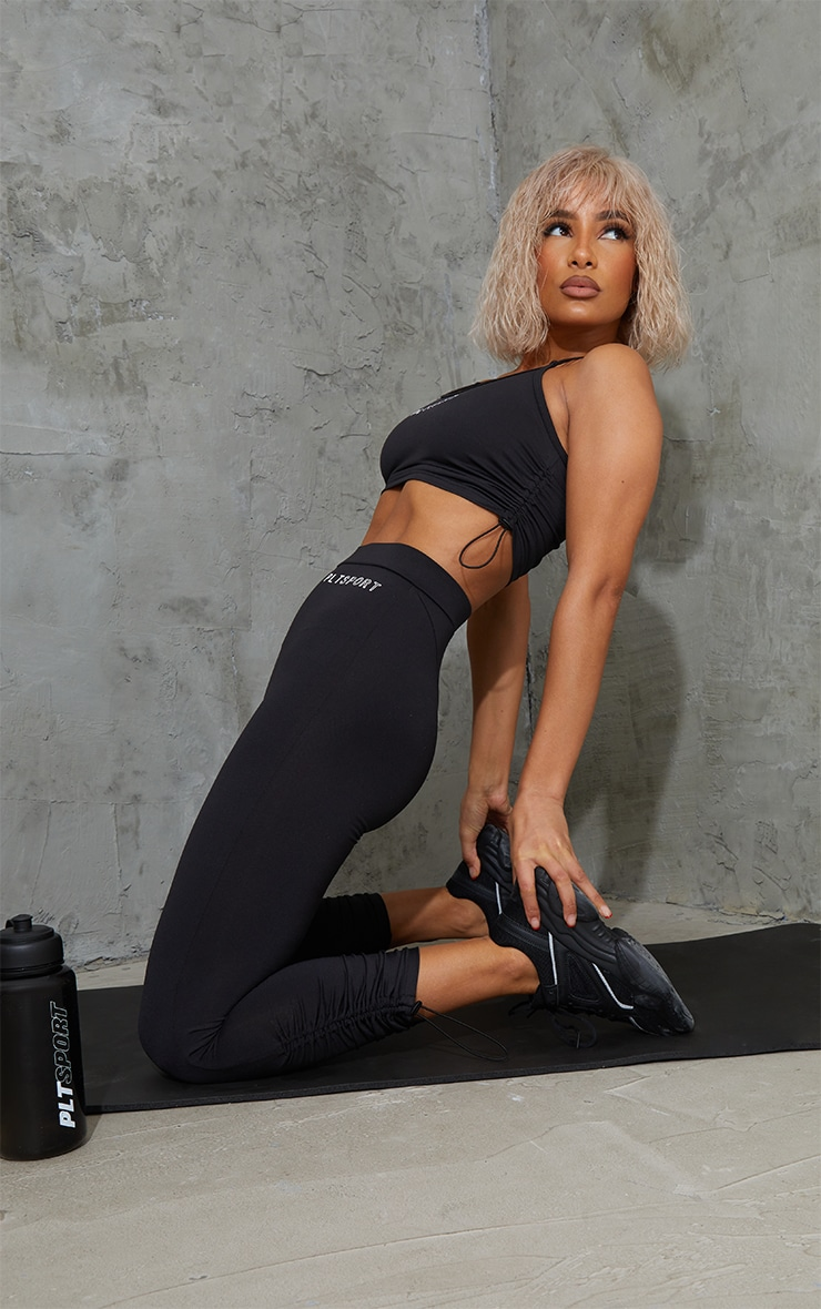 Black Toggle Ruched Cropped Gym Leggings 1