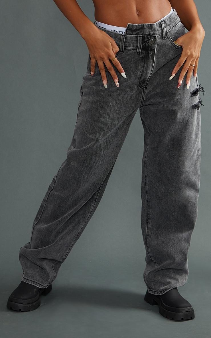 Washed Grey Baggy Lowrise Asymmetric Waistband Thigh Split Boyfriend Jeans 2